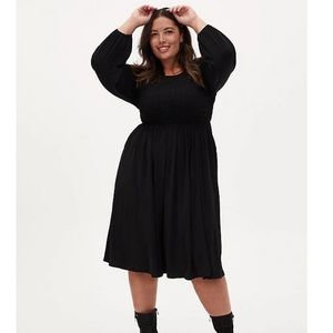 Torrid Black Studio Knit Smocked Midi Dress